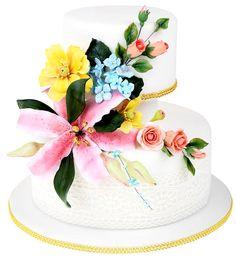 Tort ze szkolenia z florystyki cukierniczej - kompozycje z kwiatów http://www.sweetdecor.pl/category/245,szkolenia