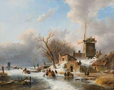 Andreas Schelfhout (1787-1870) - IJsgezicht met schaatsers en figuren bij een molen