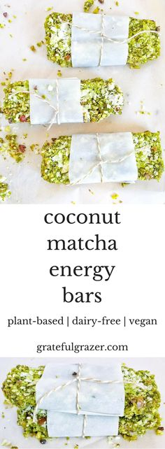 Delicious plant-based Coconut Matcha Energy Bars are the perfect energizing road trip snack!  via @gratefulgrazer