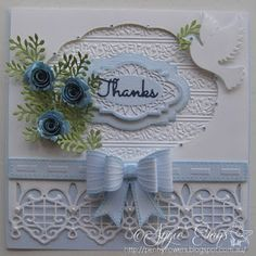 This card is made using the following dies by Sue Wilson.   Classic 3D Bow Greek Island - Kefalonia Gemini - Perseus Delicate Fronds The flowers aree Die-namics Royal Roses, the Dove and the sentiment are Impression Obsession dies.