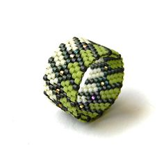 Beaded ring Statement ring Peyote stitch ring Casual ring Artisan ring Seed bead ring Delica beads ring Hippie beading rings Wide ring band