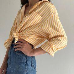 Vintage cotton creamsicle striped button up, breast pocket Fashion Mode, 90s Fashion, Fashion Outfits, Womens Fashion, Pretty Outfits, Cute Outfits, Vintage Cotton, Look Cool, Dress To Impress