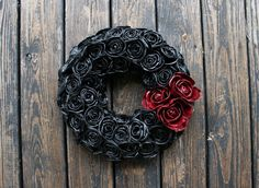 Hey, I found this really awesome Etsy listing at https://www.etsy.com/listing/197099396/halloween-wreath-black-and-blood-flower