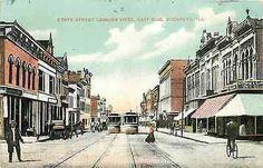 Rockford Illinois IL 1908 State Street West East Side Antique Vintage Postcard
