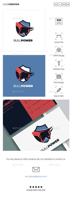 Bull Logo by Exe-Design | GraphicRiver Get it now!! Or Subcribe unlimited graphic item, photo, & video downloads!! in here : 1.envato.market/... #logo #logodesign #logotemplate