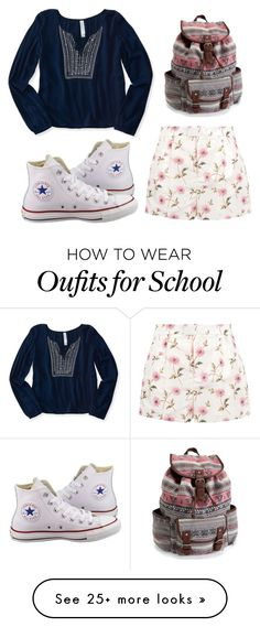 """Walking to School"" by jjwahlberg on Polyvore featuring RED Valentino, Aéropostale and Converse"