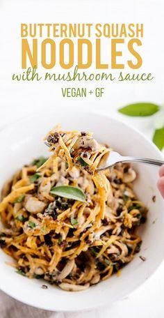 Butternut Squash Noodles with Creamy Garlic Mushrooms & Lentils (Vegan + GF)                                                                                                                                                                                 More