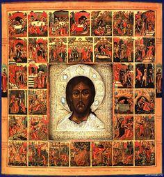 Спас оплечный с 33 клеймами Господских и апостольских страстей