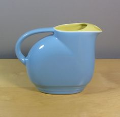 yellow and blue china | Hall China Co for Westinghouse 1940s blue and yellow water pitcher no ...