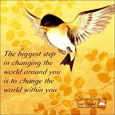 The biggest step in changing the world around you is to change the world within you.