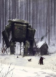 Game Art – Jakub Różalski: Soviet-Polish war and giant mechs – Cyberpunk Gallery Science Fiction Kunst, Arte Cyberpunk, Arte Horror, Art Graphique, Fantasy Landscape, Sci Fi Fantasy, Sci Fi Art, Concept Art Sci Fi, Dieselpunk