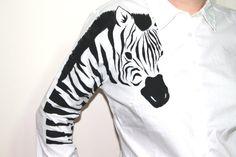 Zebra Handpainted  women unique shirt Zebra shirt by Dariacreative