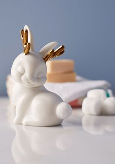 You Don't Know Jackalope Cotton Ball Container. Think you know about haute home accessories? #white #modcloth