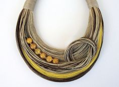 Yellow  Brown and Beige Statement Necklace with by superlittlecute, $55.00