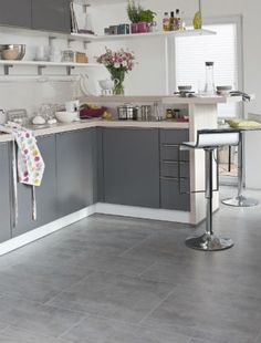 what i like here another example of how grey on grey could work with both cabinets and floors i like the big square grey tiles - Kitchen Floor Tile Design Ideas