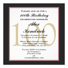 100th Centennial Birthday Invitation