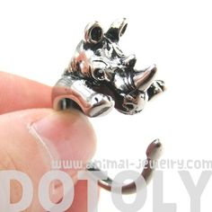 3D Rhinoceros Rhino Animal Hug Wrap Ring in Silver - Sizes 5 to 10 | dotoly - Jewelry on ArtFire