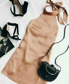 The One Day Light Brown Satin Halter Swing Dress will make every day special! Shiny satin halter dress with a backless, swing silhouette. Party Outfit For Teen Girls, Outfits For Teens, Casual Outfits, Formal Outfit For Teens, Teen Party Outfits, Fall Outfits, Casual Dresses, Mode Outfits, Fashion Outfits