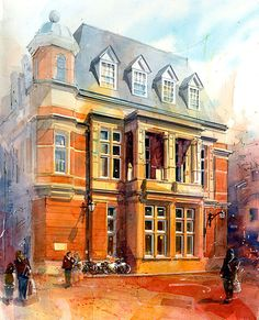 Richmond Town Hall - Architectural Illustrations by John Walsom