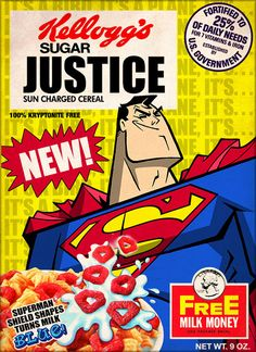 Kellogg's Sugar Justice Sun Charged Cereal. Canadian character designer Phil Postma has created this delightful series of Superman inspired cereal boxes.