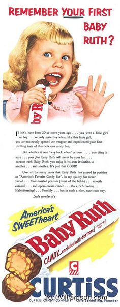 Vintage Ads : Vintage Curtiss Baby Ruth Ad - 1954 Vintage Advertising Campaign Vintage Curtiss Baby Ruth Ad – 1954 Advertisement Description Vintage Curtiss Baby Ruth Ad – 1954 Sharing is love ! Old Advertisements, Retro Advertising, Advertising Campaign, Retro Candy, Vintage Candy, Vintage Baking, Vintage Food, Old Candy, Baby Ruth