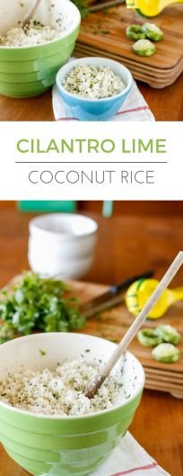 Cilantro Lime Coconut Rice -- my favorite way to serve this simple coconut milk rice is with a little lime and cilantro stirred in... Better than Chipotle Cilantro Lime Rice, a fantastic easy weeknight side dish! | via @unsophisticook on unsophisticook.com