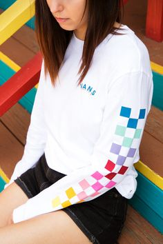 Over the rainbow: the Rain Checks Long Sleeve Tee. Over the rainbow: the Rain Checks Long Sleeve Tee. Rainbow Outfit, Rainbow Clothes, Rainbow Vans, Rainbow Star, Outfits For Teens, Summer Outfits, Pretty Outfits, Cute Outfits, Vans Girls