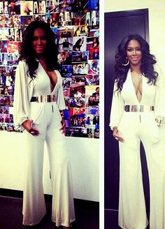 "Grab Her Style: ""Kenya Moore& White Jumpsuit"" by ""Trendy Curves . Love Fashion, Plus Size Fashion, Spring Fashion, White Fashion, Womens Fashion, Costume Année 70, Kenya Moore, Michael Costello, All White Party"