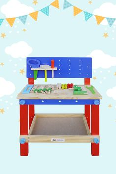 Get inventive in the workshop with the Woodworx Workbench. Little carpenters can play pretend on this vibrant, colourful bench to hone their craftsmanship skills. Whacky creations jump out of their imaginations with heaps of tools, blocks, screws, and construction slots to get crafty. Locations: AUSTRALIA
