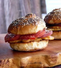 Canadian Back Bacon and Tomato Sandwiches w/ Homemade Buns