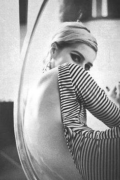 Edie Sedgwick in a striped backless dress from the 1960s. love the factory girl!