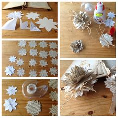 Bookpages become paper flowers. These pictures show how to make them, see also my next pin for the end result.