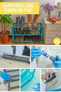 Zapatero con tubos de PVC ➜  Aprende a hacer un zapatero divertido y muy práctico ;) #DIY #Manualidades #Decoración #Handfie