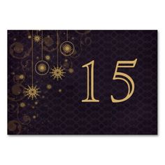 purple gold Snowflakes wedding table numbers Table Card