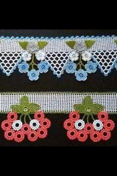 Crochet Flower Appliques set of 16 handmade craft Crochet Borders, Crochet Squares, Crochet Motif, Crochet Doilies, Crochet Flowers, Crochet Leaves, Thread Crochet, Filet Crochet, Irish Crochet