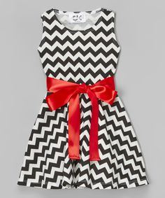 Look at this Black & Red Chevron Bow Dress - Infant, Toddler & Girls on #zulily today!
