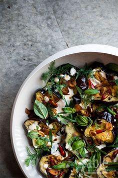 yotam ottolenghi's aubergine & herb salad with garlic yoghurt dressing