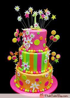 Vibrant flower and stripes birthday cake