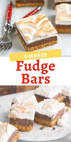 Smores Fudge Bars are 3 layers of decadence: graham cracker crust rich fudge and a marshmallow topping. Even more delicious than the classic campfire treat! Homemade Desserts, Köstliche Desserts, Best Dessert Recipes, Frozen Desserts, Summer Desserts, Vegan Recipes Easy, Cookie Recipes, Delicious Desserts, Strawberry Desserts