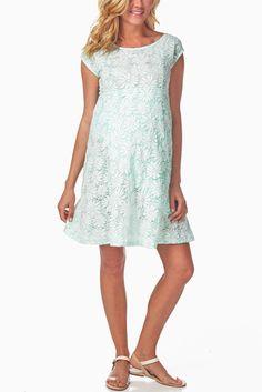 Mint-Green-Floral-Lace-Maternity-Dress #maternity #fashion