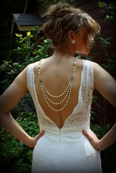 Backdrop Necklace-Ivory Pearl Necklace-Wedding Jewelry-Vintage Wedding-Bridal Necklace-Wedding Necklace-Dream Day Designs