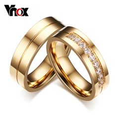 Cheap pair wedding rings, Buy Quality wedding rings for women directly from China wedding rings Suppliers: Vnox 1 Pair Wedding Rings for Women Men Couple Promise Band Stainless Steel Anniversary Engagement Jewelry Alliance Bijoux Couple Rings Gold, Promise Rings For Couples, Couple Jewelry, Wedding Rings For Women, Wedding Ring Bands, Gold Rings, Rings For Men, Promise Band, Trendy Wedding