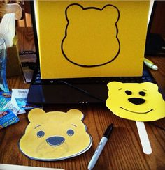 Disney whinnie the pooh stick puppet... Easy craft for preschoolers
