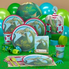 Puff, the Magic Dragon Party Supplies - not the actual paper products, but maybe these colors for the party.
