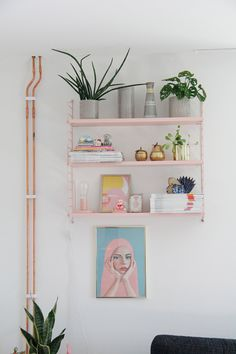 Pink string shelves