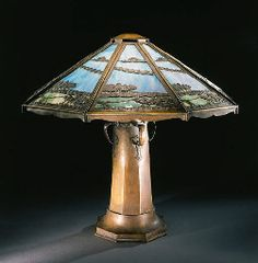 LEADED GLASS AND COPPER TABLE LAMP  CHARLES LIMBERT, CIRCA 1910