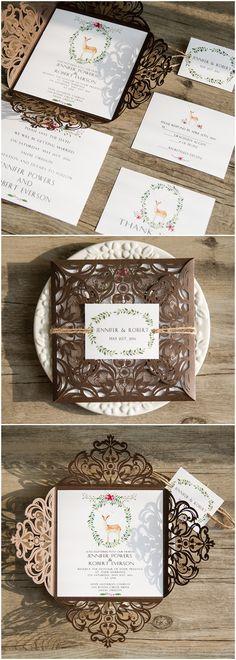 boho themed brown laser cut wedding invitations @elegantwinvites