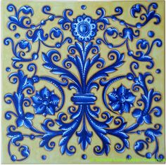 Deruta Italian Hand Painted Tile - Acanthus Flower Crest - Decorative or backsplash tile - 12 in x 12 in x Ceramic Painting, Ceramic Art, Moraccan Tile, Italian Pattern, Nature Paper, Art Nouveau, Vintage Tile, Decoupage, Pottery Designs