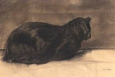 Théophile-Alexandre Steinlen , A Black Cat on ArtStack #theophile-alexandre-steinlen #art