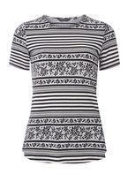 Womens Black And White Textured Print T-Shirt- Black